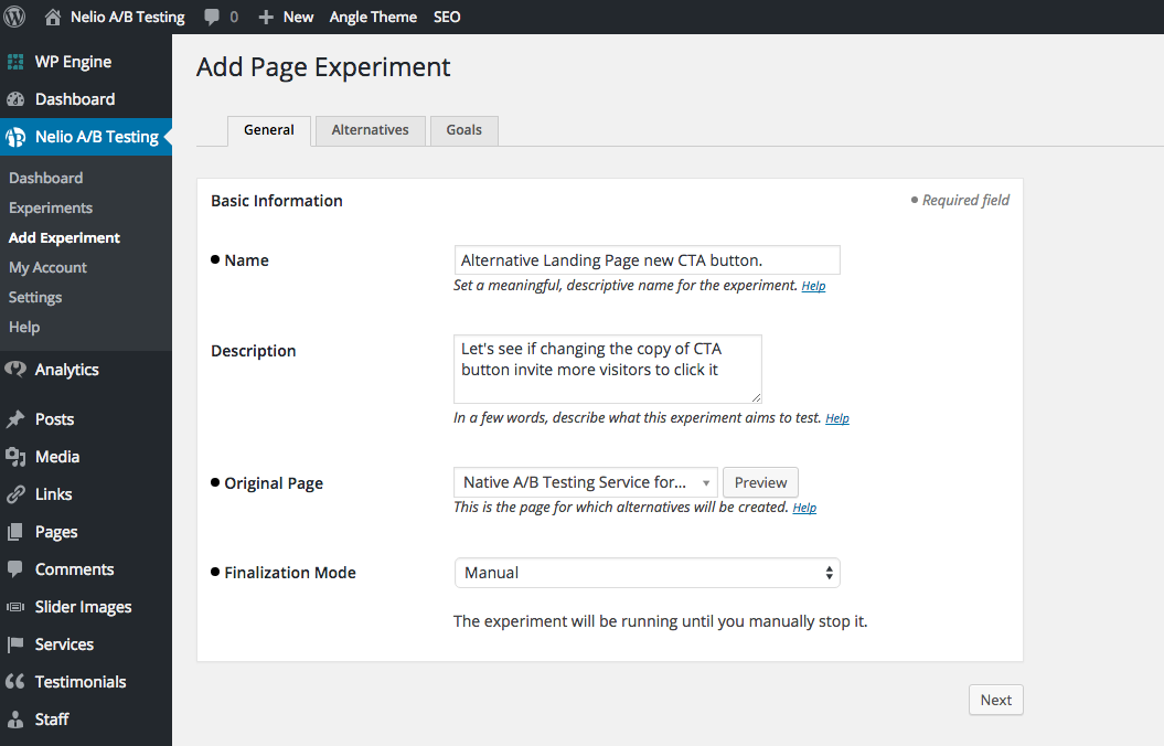Introducing Basic Information of Landing Page Experiment with Nelio A/B Testing