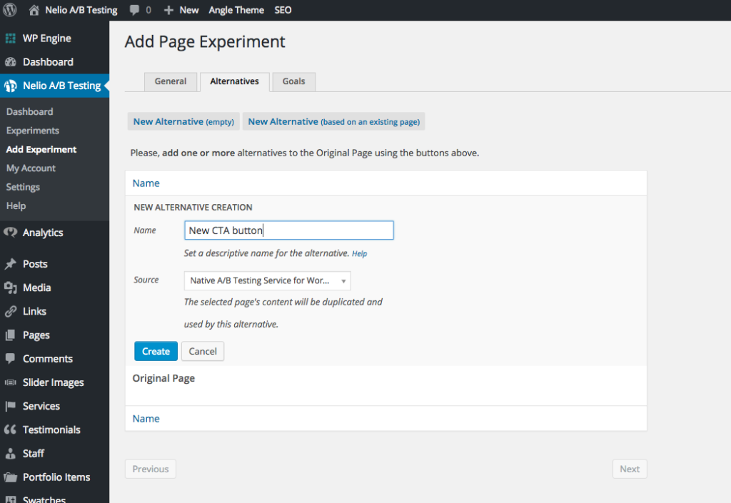 Creating an alternative Landing Page with Nelio A/B Testing