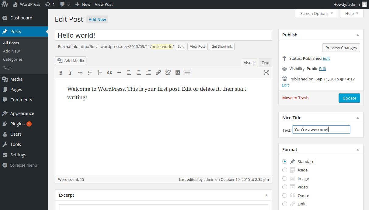 Post editor in WordPress with Nelio's Nice Title meta box.