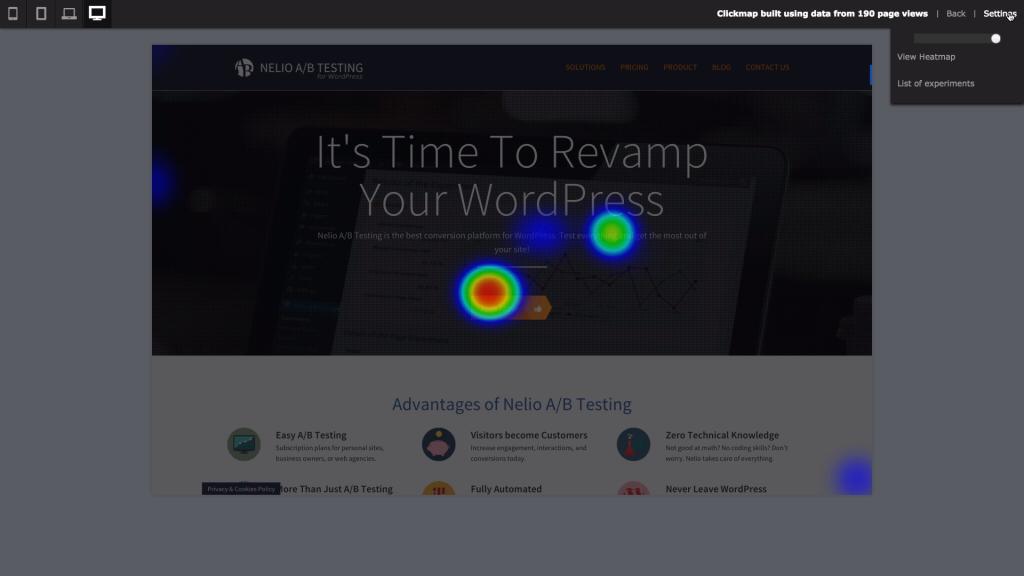 Screenshot of clickmaps with Nelio