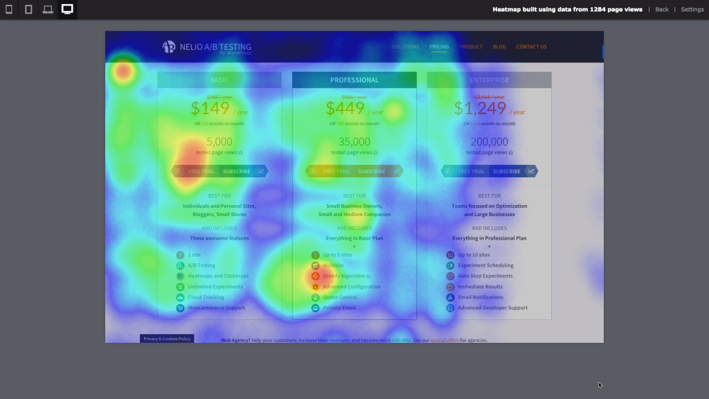 Heatmaps of one alternative of the pricing plans page