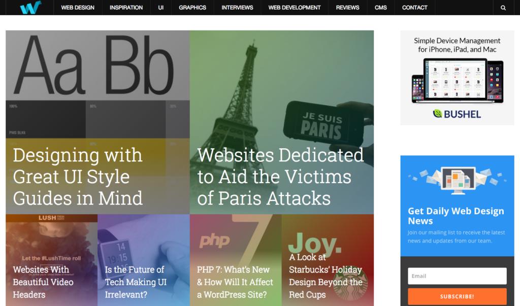 Web Design Ledger menu screenshot