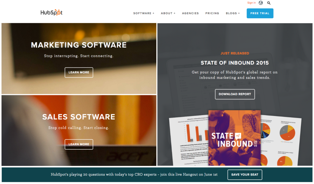 Screenshot of HubSpot.com
