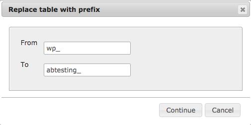 Replace table prefix in phpMyAdmin.