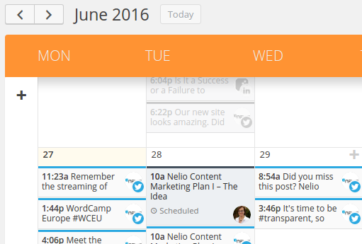 Example of a signifier in Nelio Content's Calendar page