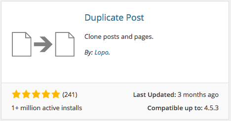 Duplicate Post Plugin