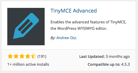 TinyMCE Advanced Plugin