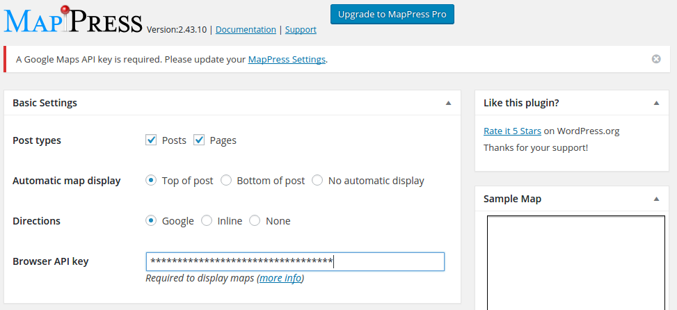 MapPress Settings Screen