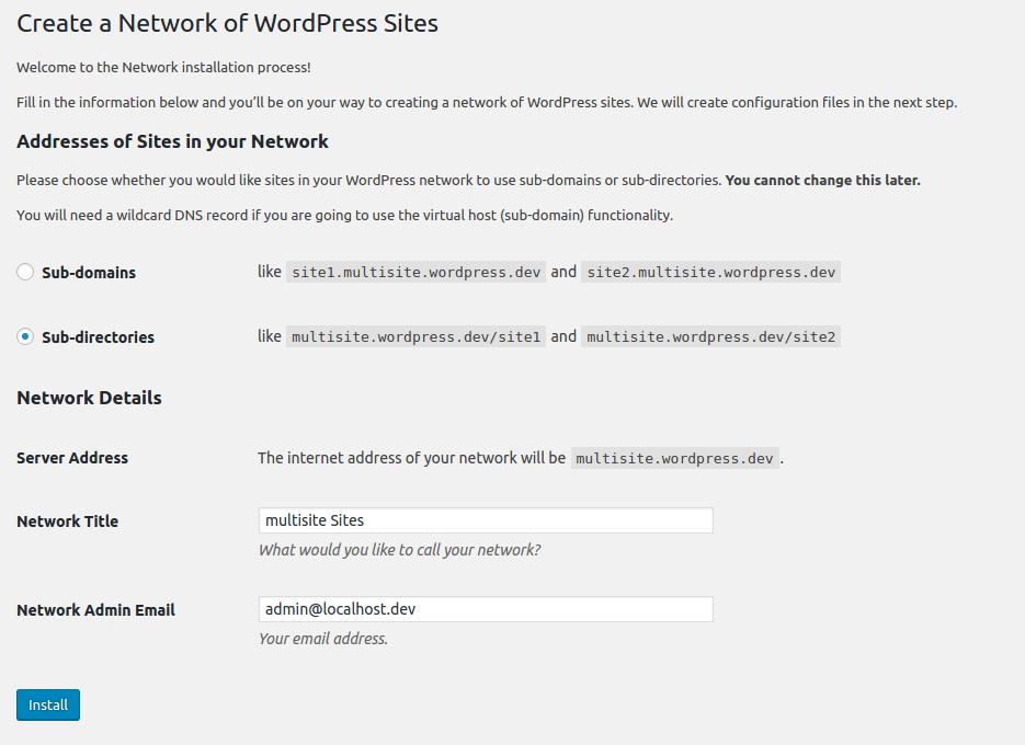 WordPress Multisite - Installation