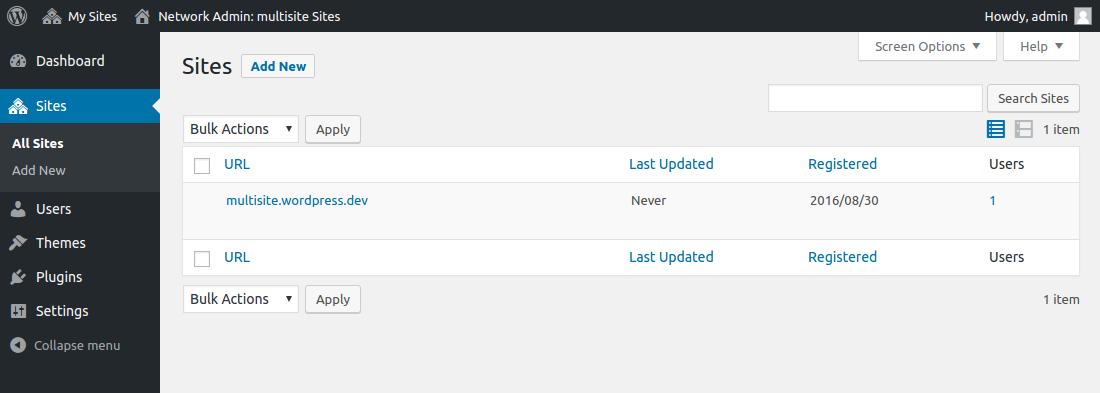 WordPress Multisite - Site Management