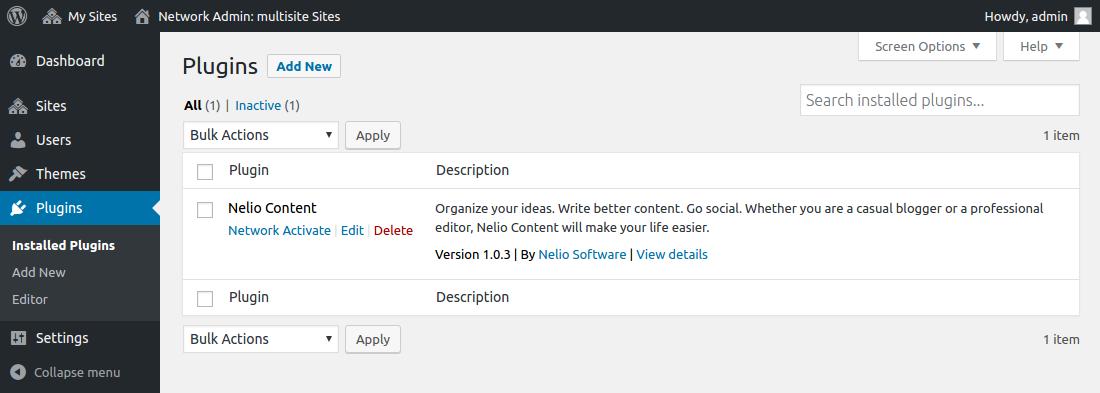 WordPress Multisite - Plugin Management