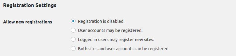 WordPress Multisite - Registration Settings