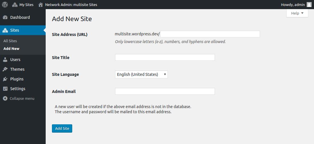 WordPress Multisite - Adding New Sites