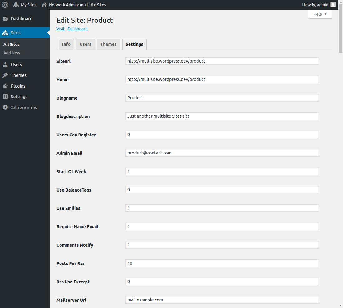 WordPress Multisite - Site Settings from Network Admin Screen