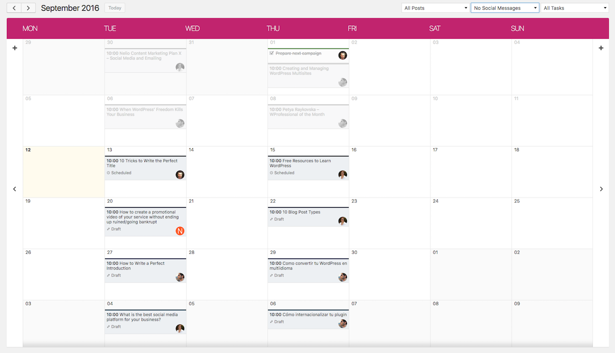 Screenshot of Nelio Content calendar