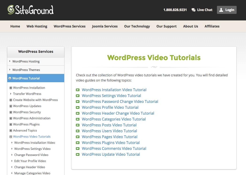 SiteGround WordPress Tutorials
