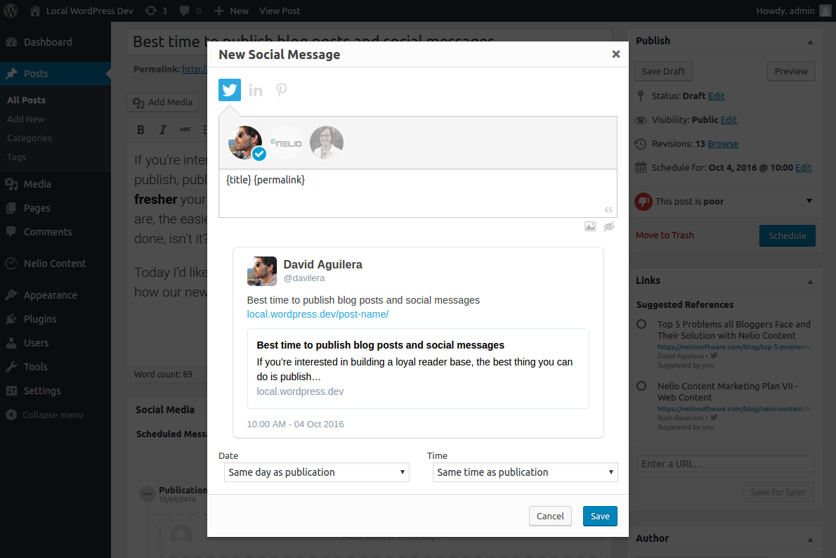 Screenshot of Nelio Content's Dialog for Adding new Social Messages