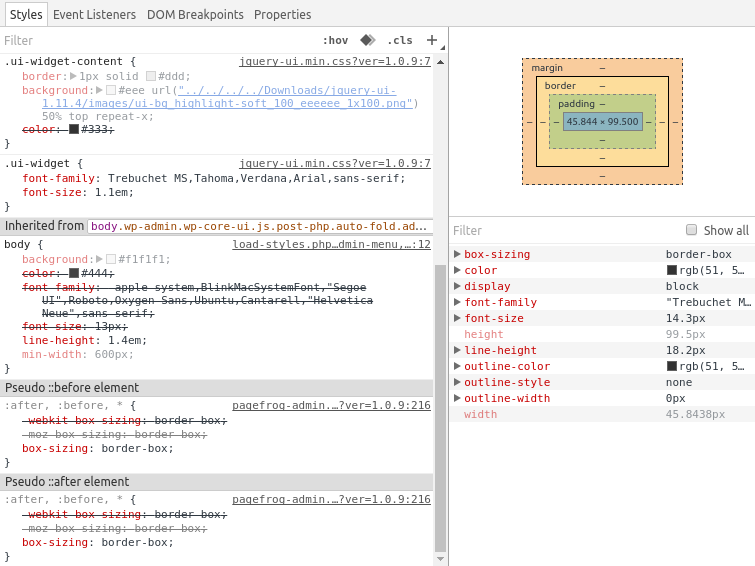 Screenshot of CSS rules applied to one element in a Nelio Content's dialog