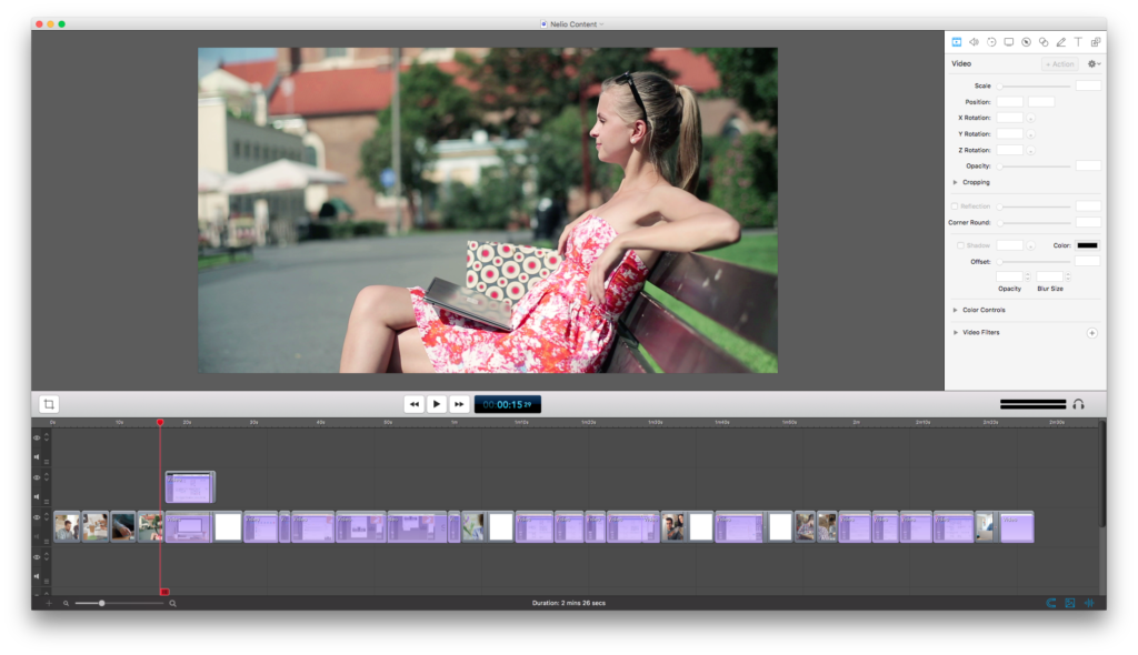 Screenshot showing Screenflow interface with the video fragments edited.
