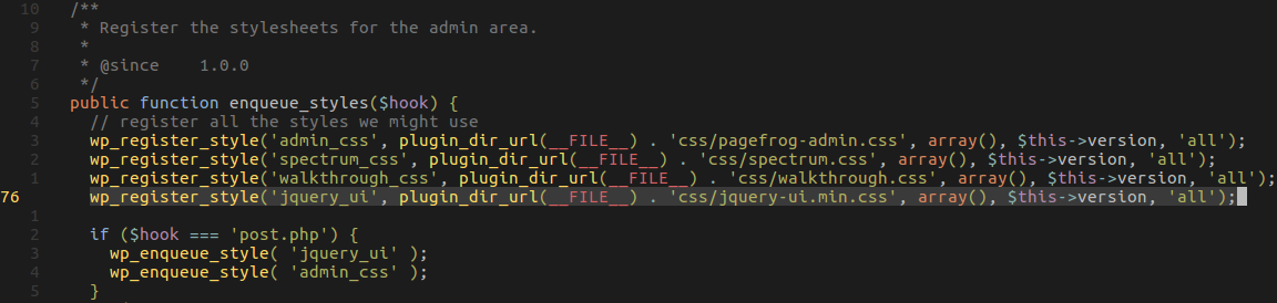 PageFrog registers and enqueues its own jQuery UI style