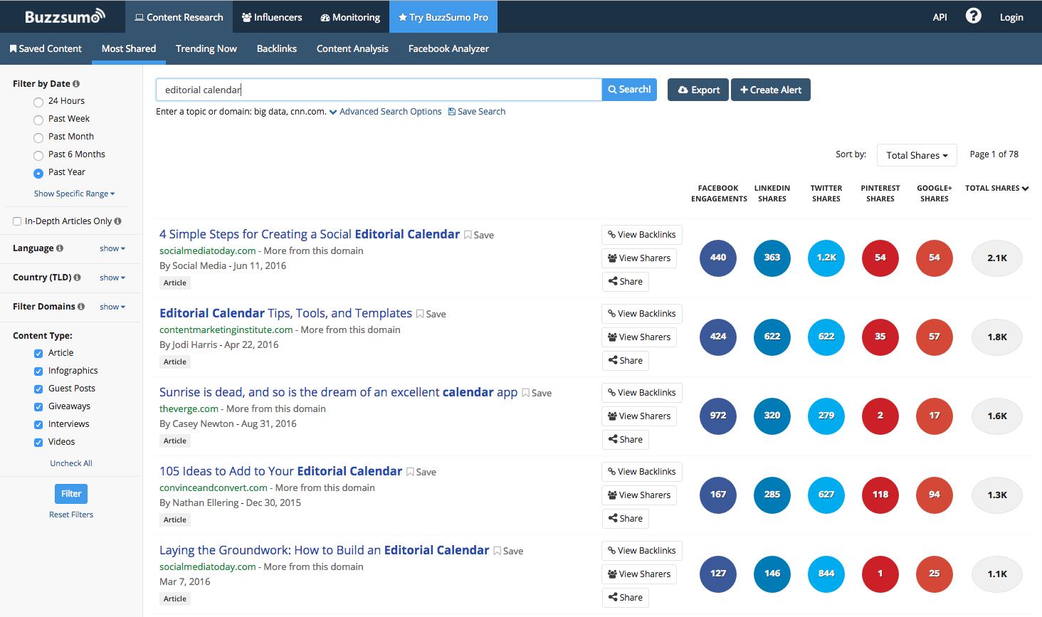 Screen shot of searching in Buzzsumo
