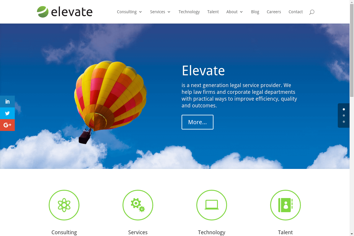 Elevate Services website screenshot