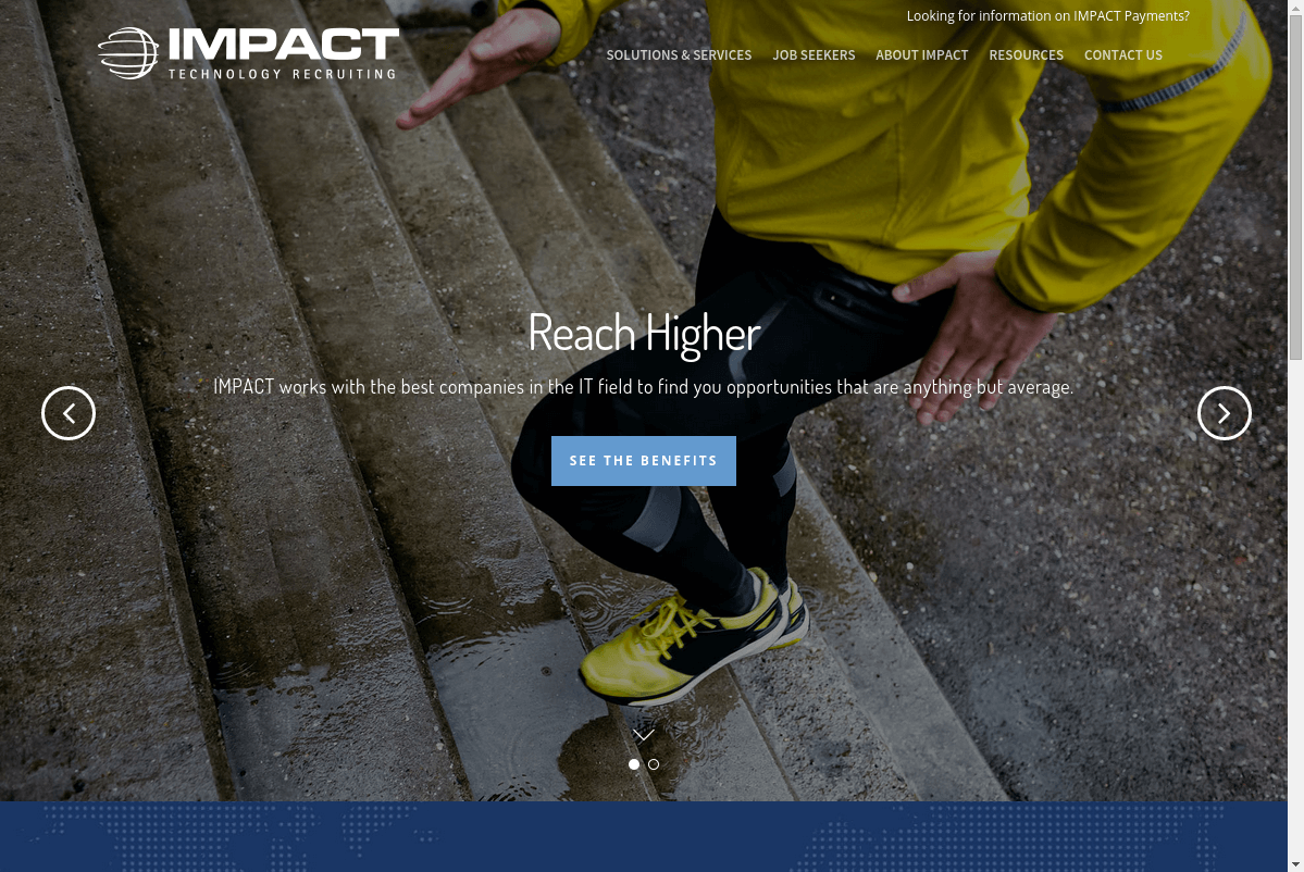 Screenshot of the Impact Technology Recruiting website