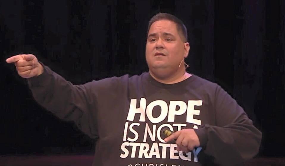 "Chris Lema with his T-shirt showing the ""Hope is not a strategy"" message at YoastCon. If you didn't see the full video, go see it. It's brilliant 👍."