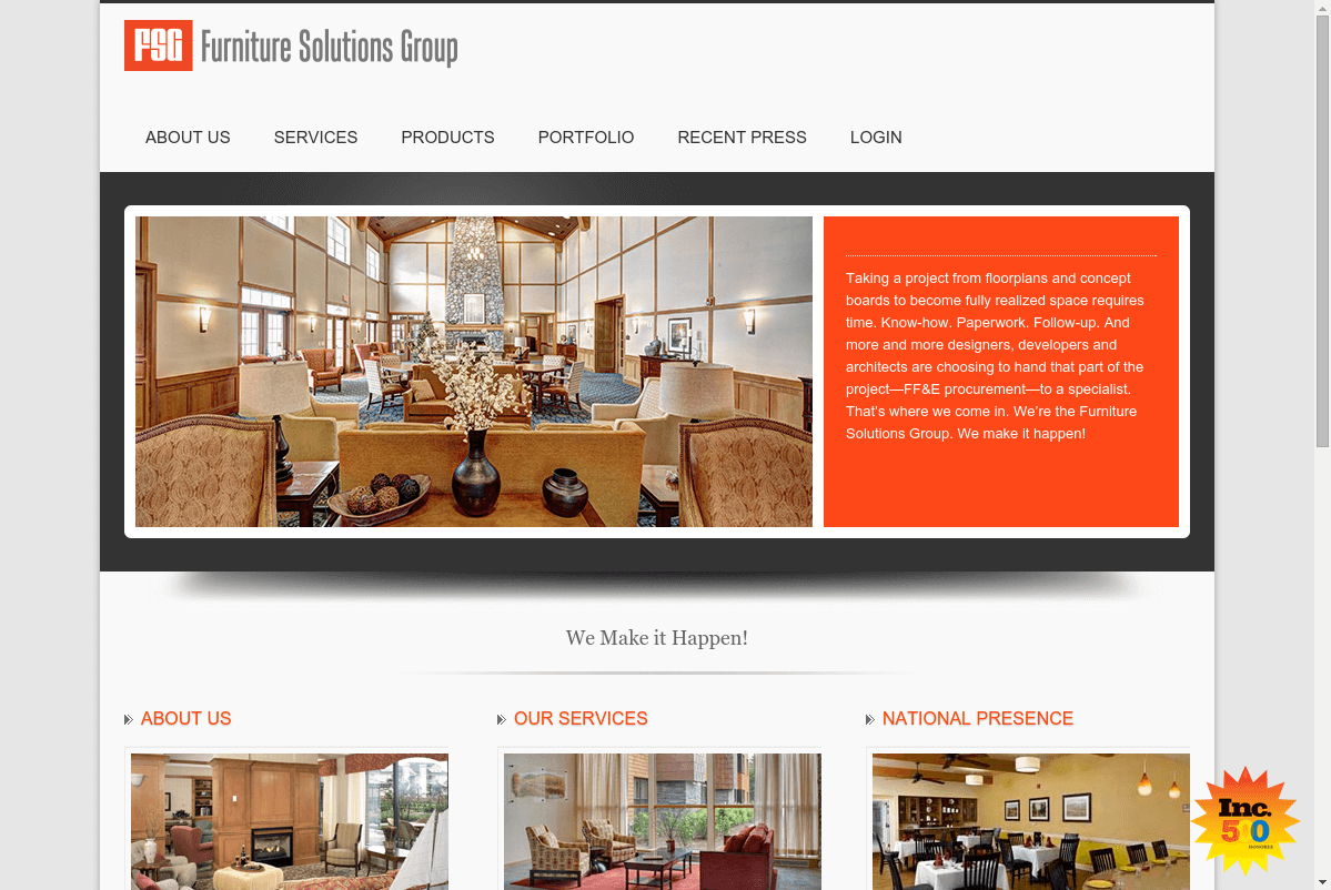 Screenshot of Furniture Solutions Group website