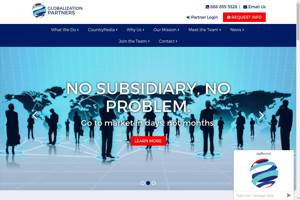 Globalization Partners website screenshot