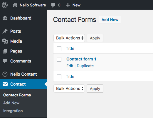 Contact Forms Settings