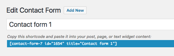 Contact form shortcode to copy and paste