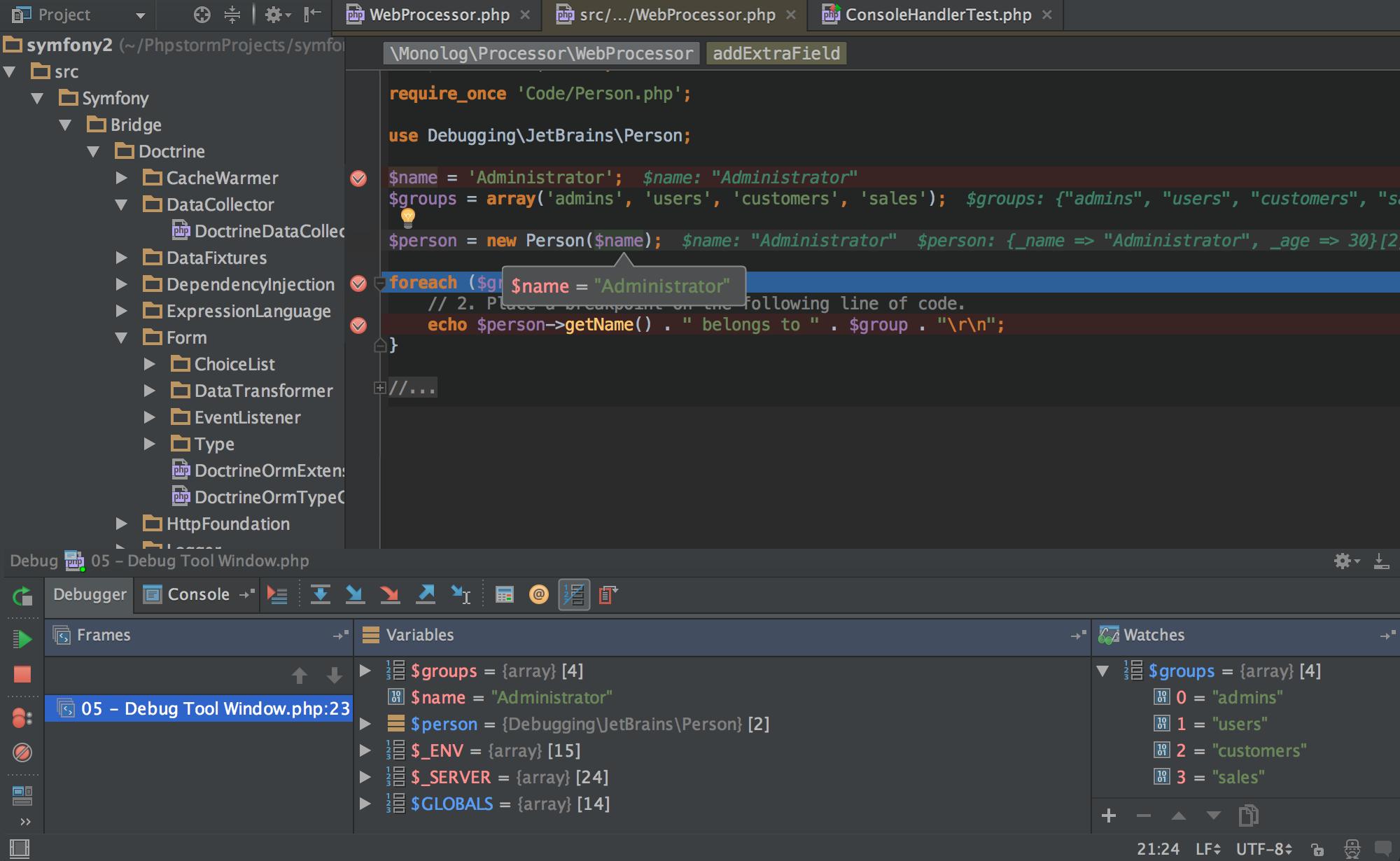 Screenshot of PHPStorm