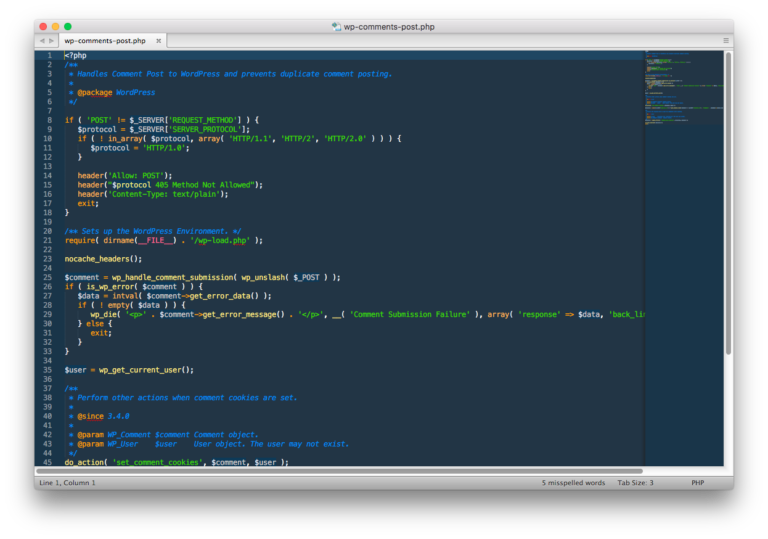 Screenshot of Sublime Text.