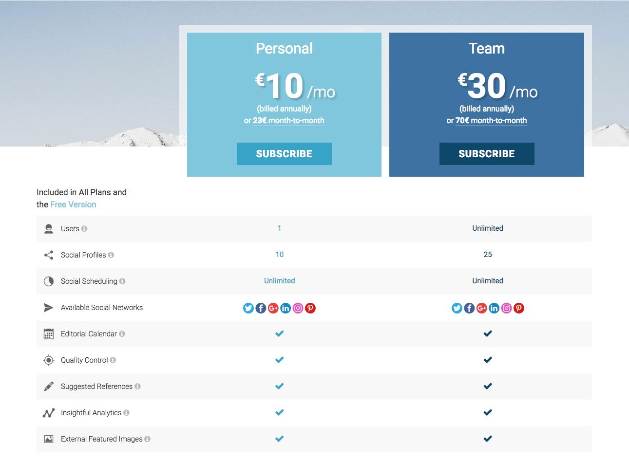 Nelio Content Pricing Screenshot