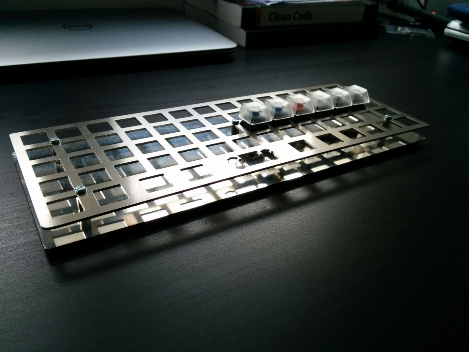 Picture of the keyboard being built by David