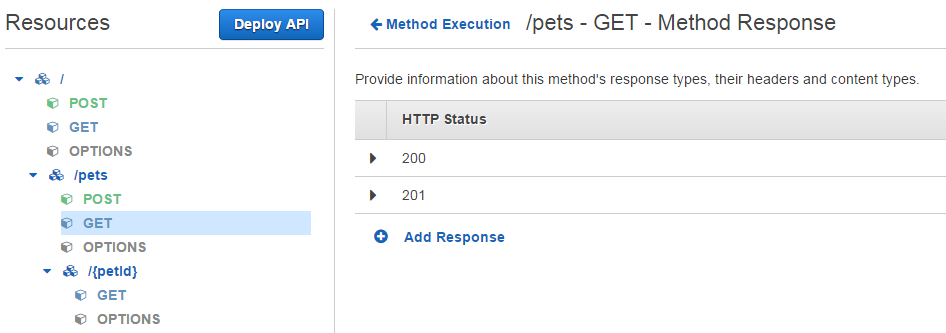 User interface of Amazon API Gateway. You can create APIs almost without having previous experience. Easier than ever.