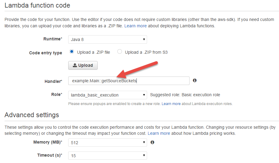 Screenshot of the user interface to upload the code of a lambda function.
