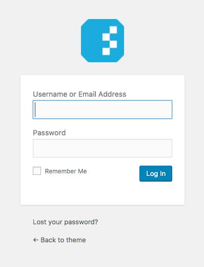 Custom login screen of WordPress showing the logo of Nelio.