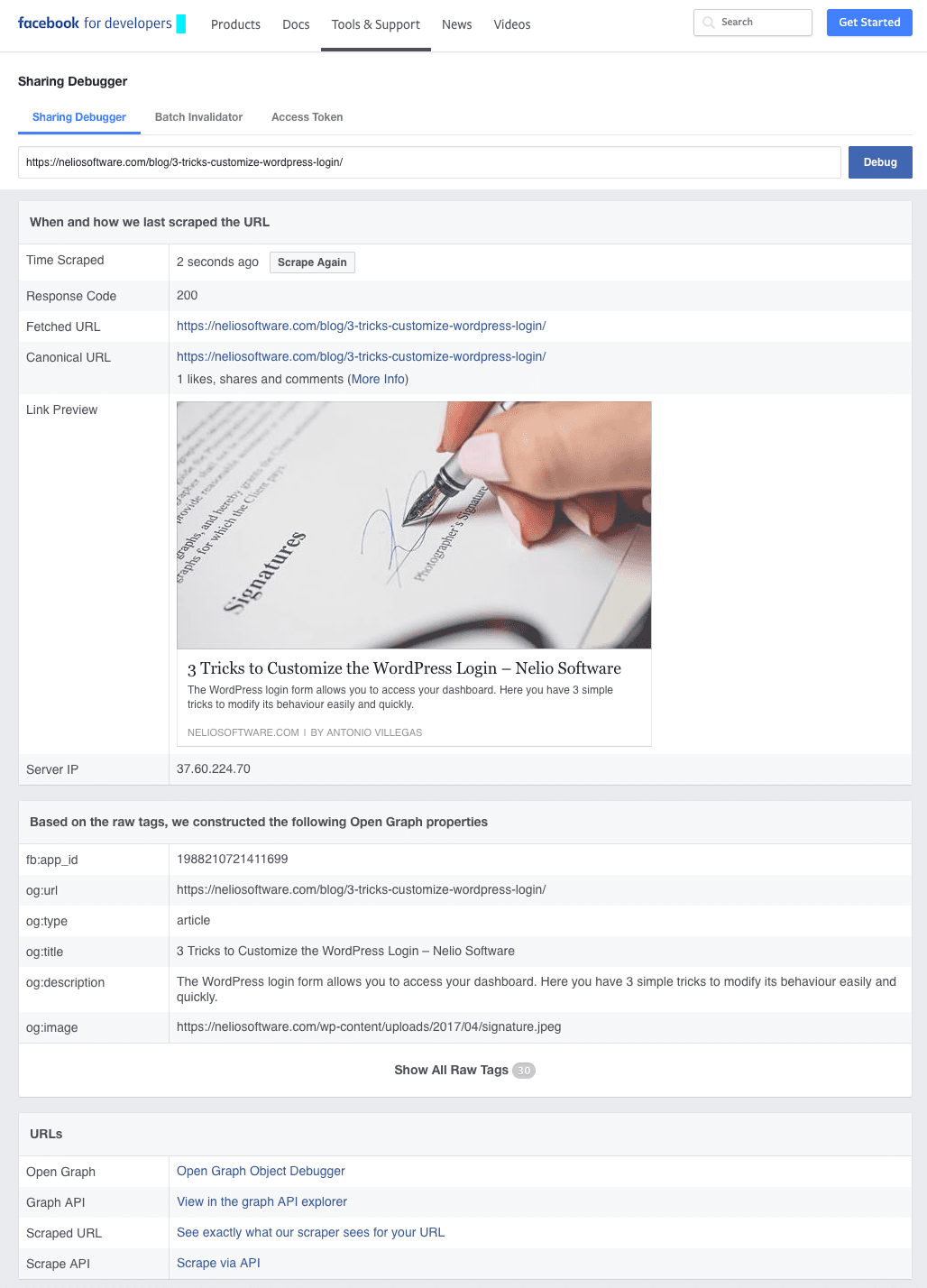 Screenshot of Facebook sharing debugger.