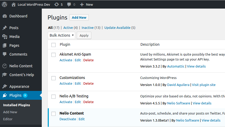 Plugin list with our customizations plugin