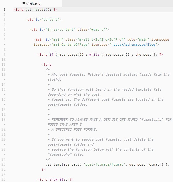 Code fragment of single.php in Bones, where you can see that it contains support for post formats.