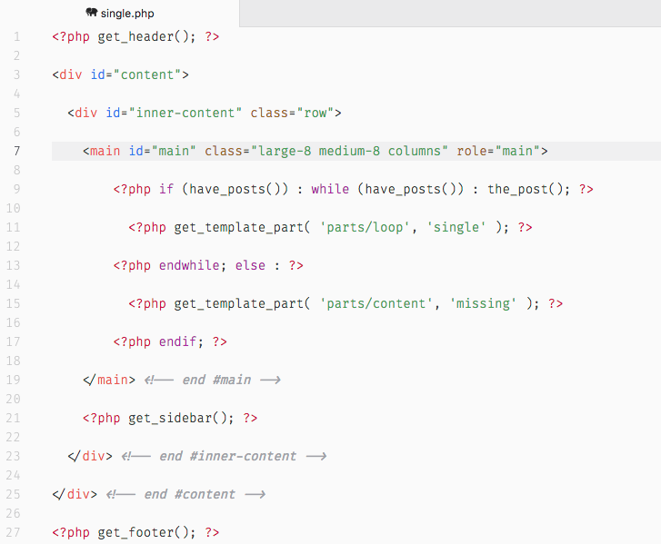 JointsWP includes the typical CSS classes from Foundation, as seen in single.php.