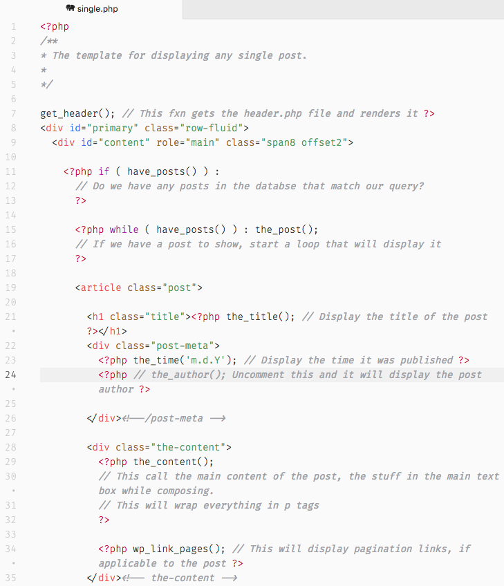As you can see, Naked includes comments to help you understand almost each line of code.