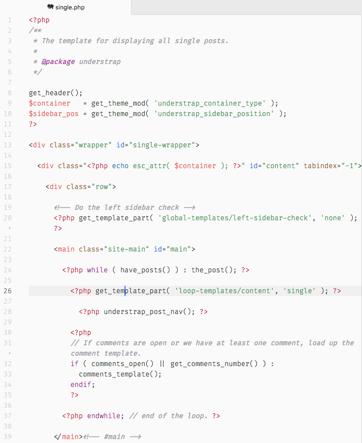 As you can see, the single.php of UnderStrap is much complex than Underscores'.