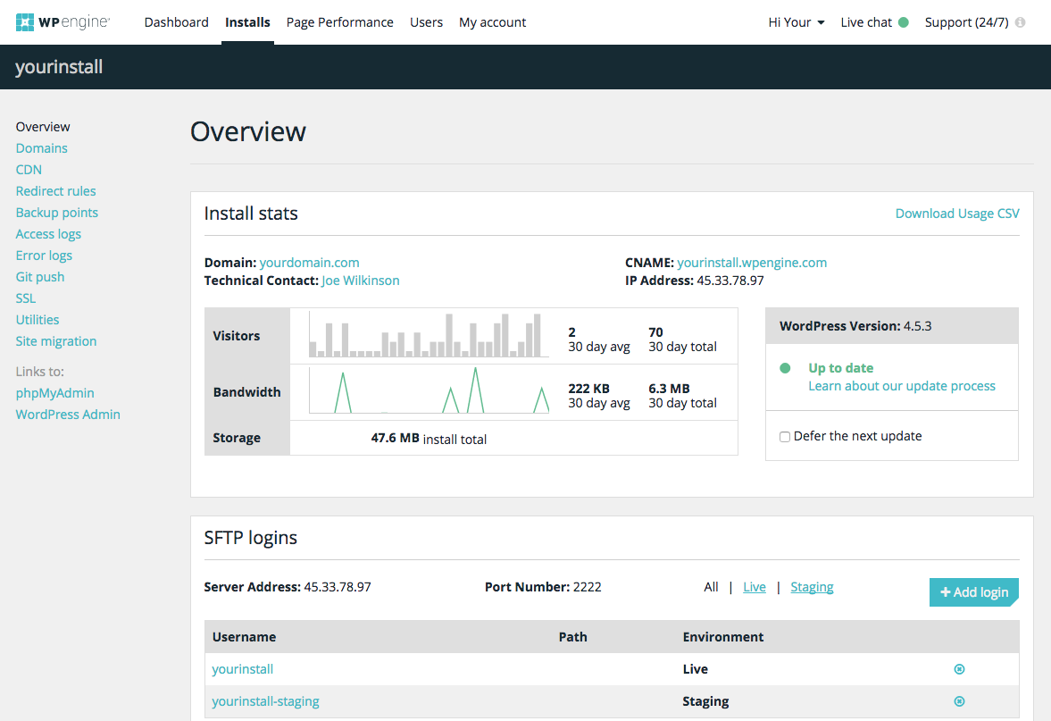 WPEngine User Portal. A fancy yet usable admin dashboard.