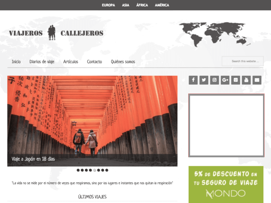 Viajeros callejeros website
