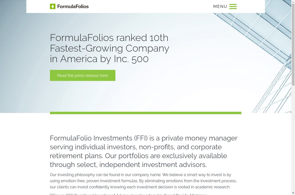 FormulaFolios website