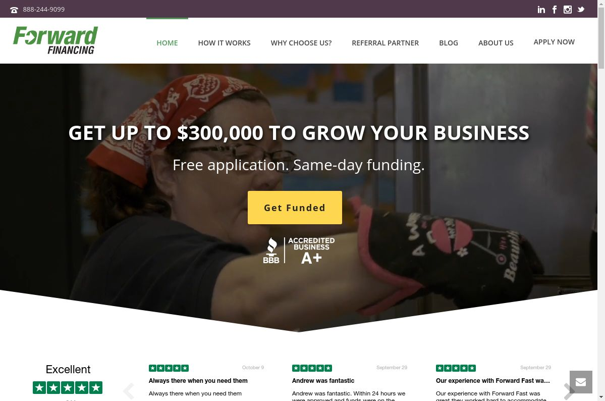 Forward Financing website