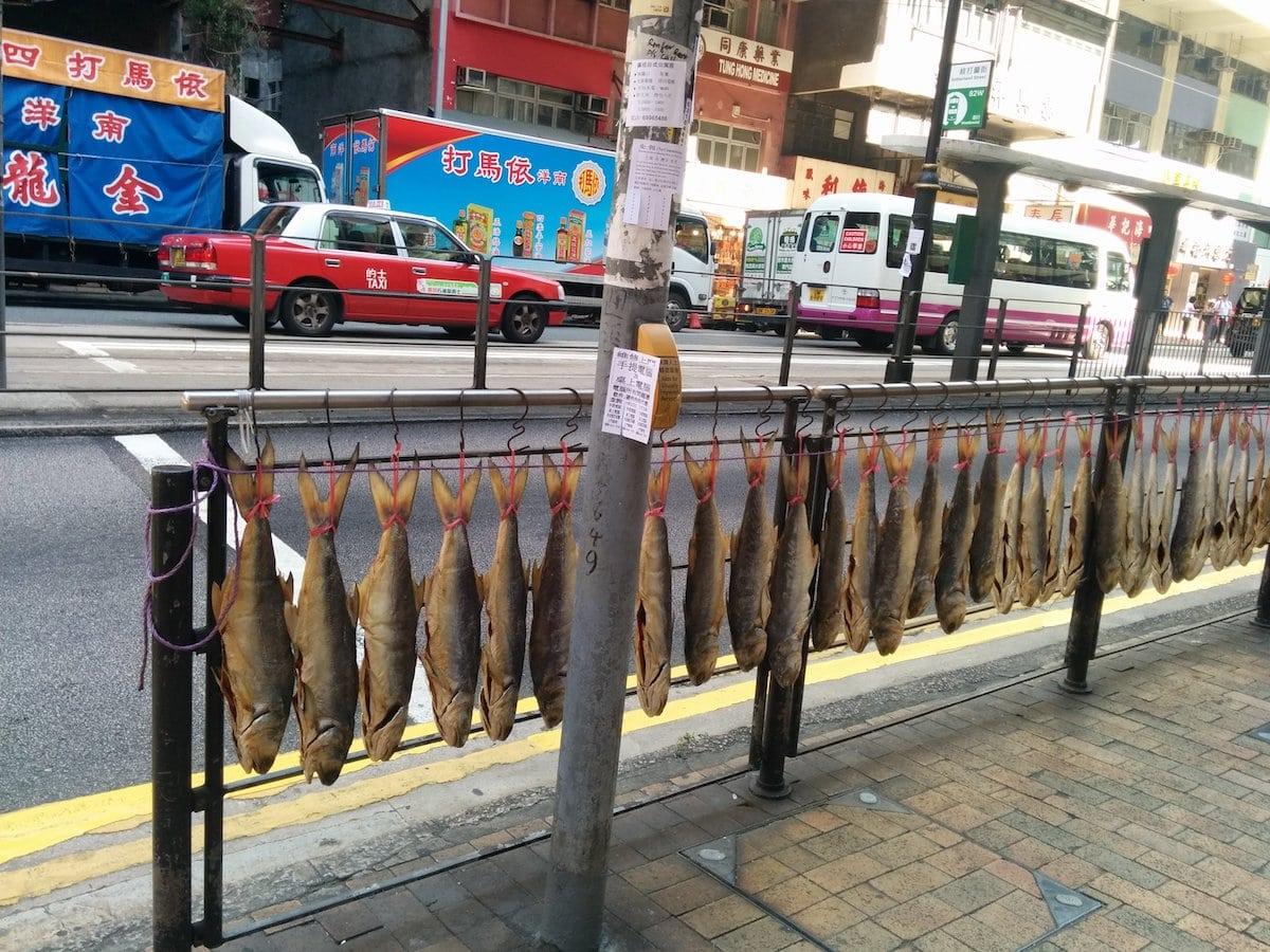 Hong Kong street with dried fish